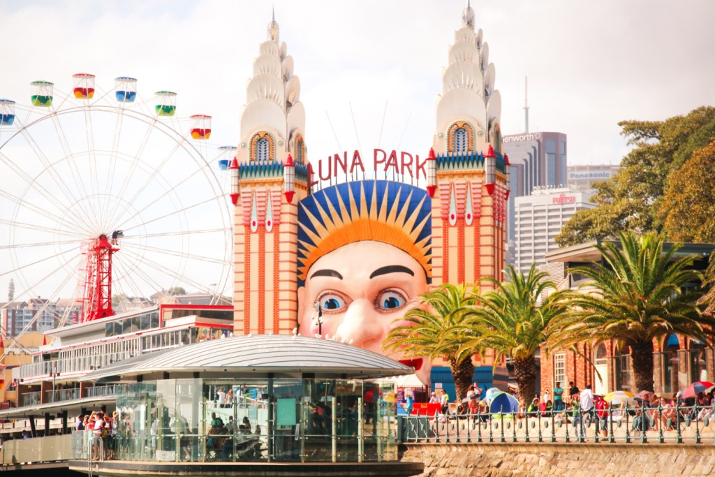 The ferry terminal at the entrance to Luna Park in Sydney