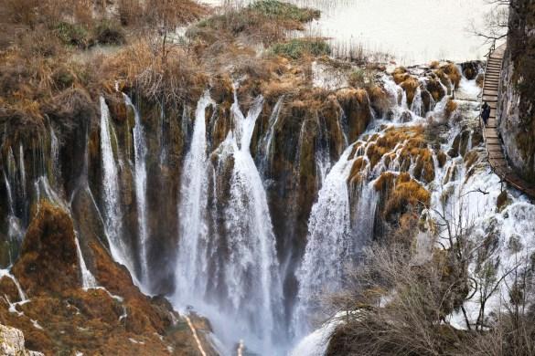Winter views of waterfalls at Plitvice Lakes National Park in Croatia