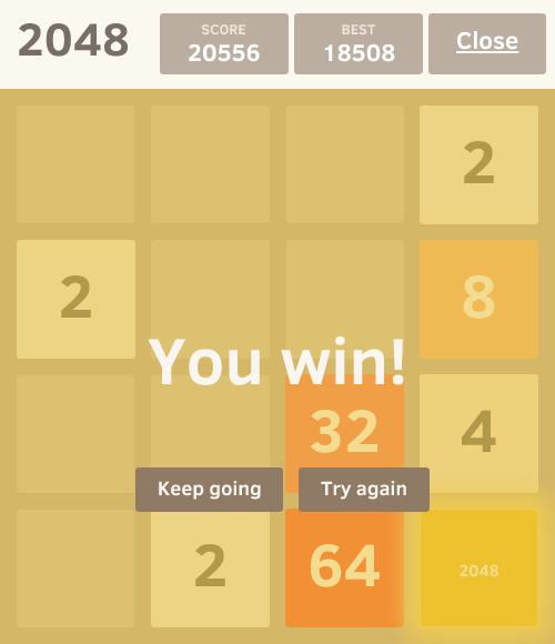 Winning is easy but i tried to find a sure way to win in all games. It is very simple. Using the following method you can win any 2048 game.