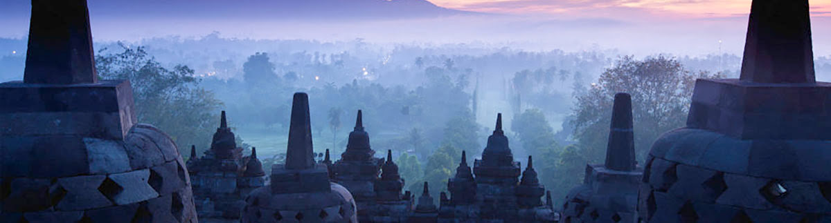 Silhouetted images of Borobudur Temple in Central Java, Indonesia