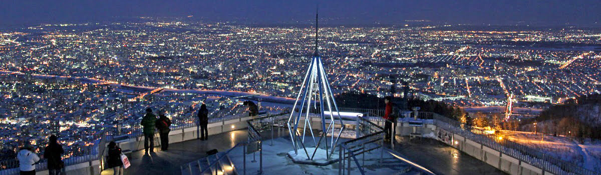 Sapporo travel: featured photo - aerial view of Sapporo at night