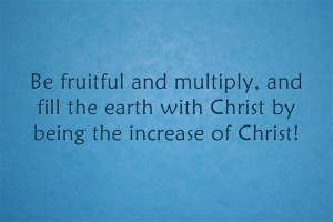 be fruitful and multiply, and fill the earth with Christ by being the increase of Christ