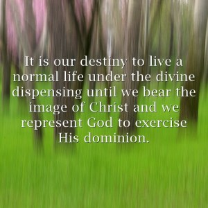 Be Satisfied with Normal Days under the Divine Dispensing for God's image and Dominion