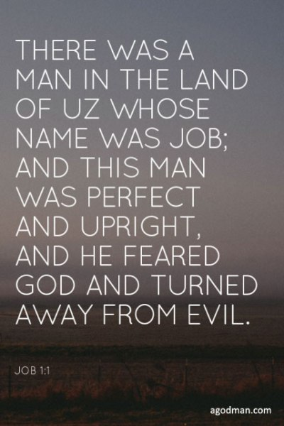 Job 1:1 There was a man in the land of Uz whose name was Job; and this man was perfect and upright, and he feared God and turned away from evil.