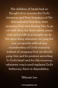 Not Usurping God but Praying and Being According to God's Heart and for His Economy