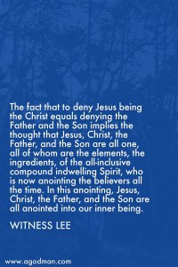 The Triune God as the Anointing within is Teaching us Concerning Himself Subjectively