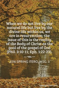 Our Work for the Lord in the Gospel is by the Lord's Resurrection Life and Power
