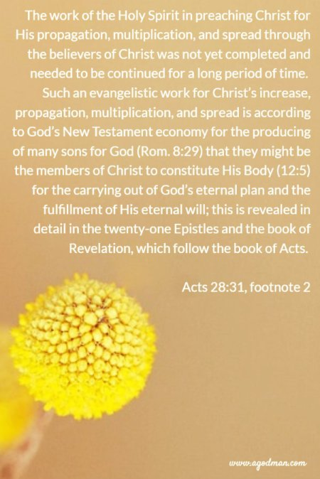 The work of the Holy Spirit in preaching Christ for His propagation, multiplication, and spread through the believers of Christ was not yet completed and needed to be continued for a long period of time. Such an evangelistic work for Christ's increase, propagation, multiplication, and spread is according to God's New Testament economy for the producing of many sons for God (Rom. 8:29) that they might be the members of Christ to constitute His Body (12:5) for the carrying out of God's eternal plan and the fulfillment of His eternal will; this is revealed in detail in the twenty-one Epistles and the book of Revelation, which follow the book of Acts. Acts 28:31, footnote 2