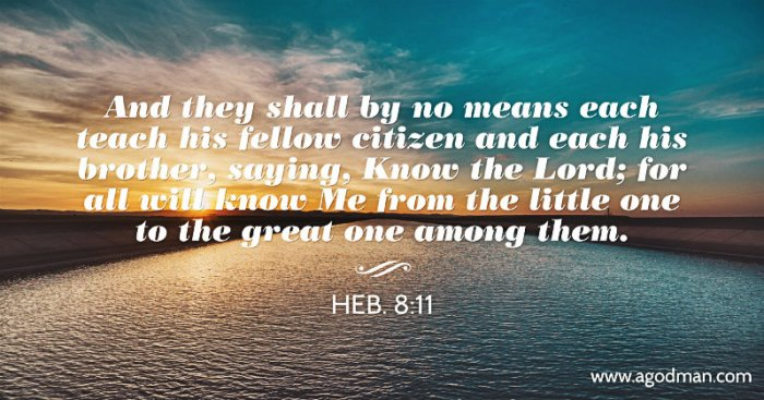 Heb. 8:11 And they shall by no means each teach his fellow citizen and each his brother, saying, Know the Lord; for all will know Me from the little one to the great one among them.