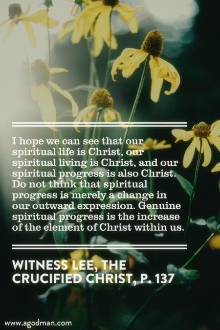 I hope we can see that our spiritual life is Christ, our spiritual living is Christ, and our spiritual progress is also Christ. Do not think that spiritual progress is merely a change in our outward expression. Genuine spiritual progress is the increase of the element of Christ within us. Witness Lee, The Crucified Christ, p. 137