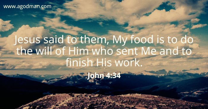 John 4:34 Jesus said to them, My food is to do the will of Him who sent Me and to finish His work.