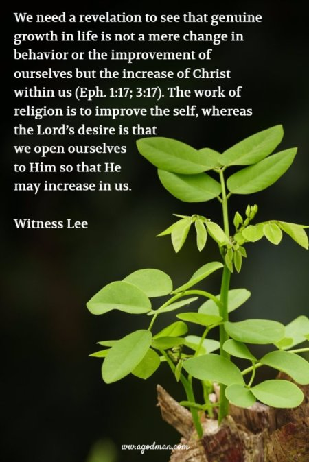 We need a revelation to see that genuine growth in life is not a mere change in behavior or the improvement of ourselves but the increase of Christ within us (Eph. 1:17; 3:17). The work of religion is to improve the self, whereas the Lord's desire is that we open ourselves to Him so that He may increase in us. Witness Lee