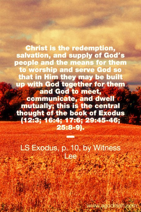 Christ is the redemption, salvation, and supply of God's people and the means for them to worship and serve God so that in Him they may be built up with God together for them and God to meet, communicate, and dwell mutually; this is the central thought of the book of Exodus (12:3; 16:4; 17:6; 29:45-46; 25:8-9). LS Exodus, p. 10, by Witness Lee