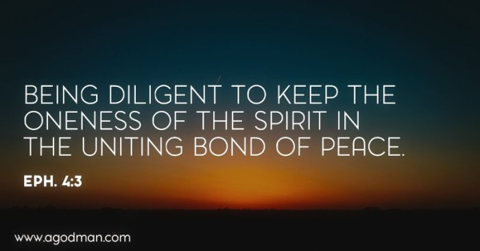 Eph. 4:3 Being diligent to keep the oneness of the Spirit in the uniting bond of peace.