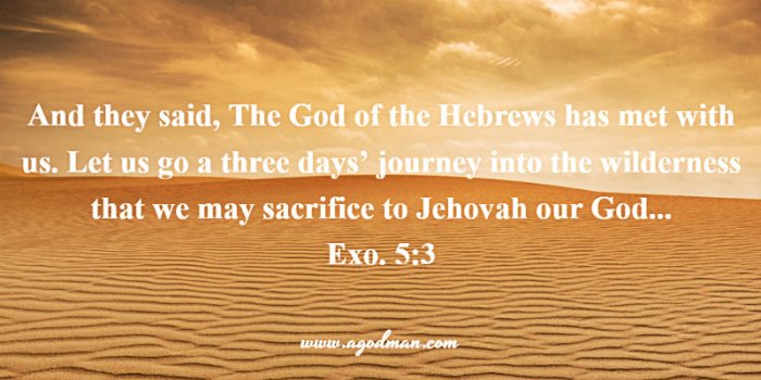 Exo. 5:3 And they said, The God of the Hebrews has met with us. Let us go a three days' journey into the wilderness that we may sacrifice to Jehovah our God...
