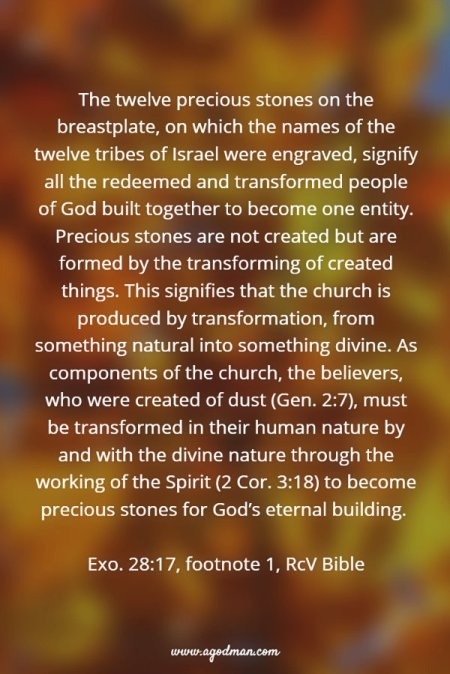 The twelve precious stones on the breastplate, on which the names of the twelve tribes of Israel were engraved, signify all the redeemed and transformed people of God built together to become one entity. Precious stones are not created but are formed by the transforming of created things. This signifies that the church is produced by transformation, from something natural into something divine. As components of the church, the believers, who were created of dust (Gen. 2:7), must be transformed in their human nature by and with the divine nature through the working of the Spirit (2 Cor. 3:18) to become precious stones for God's eternal building. Exo. 28:17, footnote 1, RcV Bible
