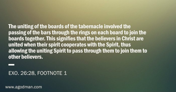 The uniting of the boards of the tabernacle involved the passing of the bars through the rings on each board to join the boards together. This signifies that the believers in Christ are united when their spirit cooperates with the Spirit, thus allowing the uniting Spirit to pass through them to join them to other believers. (Exo. 26:28, footnote 1)