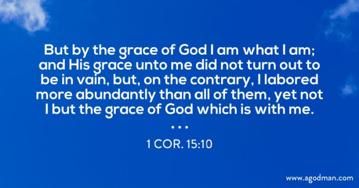 1 Cor. 15:10 But by the grace of God I am what I am; and His grace unto me did not turn out to be in vain, but, on the contrary, I labored more abundantly than all of them, yet not I but the grace of God which is with me.