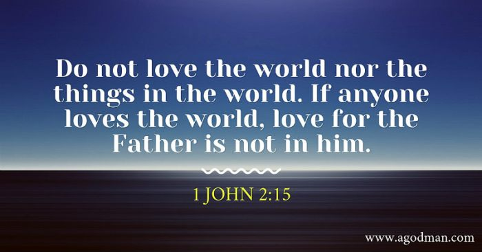 1 John 2:15 Do not love the world nor the things in the world. If anyone loves the world, love for the Father is not in him.