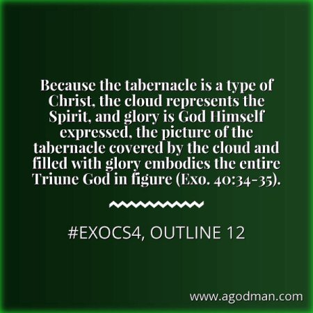 Because the tabernacle is a type of Christ, the cloud represents the Spirit, and glory is God Himself expressed, the picture of the tabernacle covered by the cloud and filled with glory embodies the entire Triune God in figure (Exo. 40:34-35). #ExoCS4, outline 12
