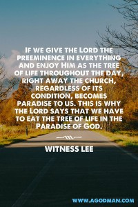 We need to Maintain the eating of Christ as the Tree of Life in the Church Life