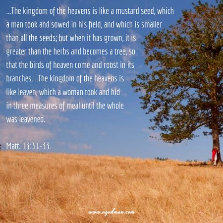 Matt. 13:31-33 ...The kingdom of the heavens is like a mustard seed, which a man took and sowed in his field, and which is smaller than all the seeds; but when it has grown, it is greater than the herbs and becomes a tree, so that the birds of heaven come and roost in its branches....The kingdom of the heavens is like leaven, which a woman took and hid in three measures of meal until the whole was leavened.
