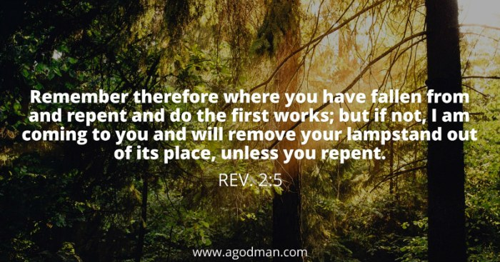 Rev. 2:5 Remember therefore where you have fallen from and repent and do the first works; but if not, I am coming to you and will remove your lampstand out of its place, unless you repent.