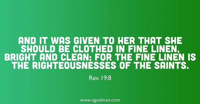 Rev. 19:8 And it was given to her that she should be clothed in fine linen, bright and clean; for the fine linen is the righteousnesses of the saints.