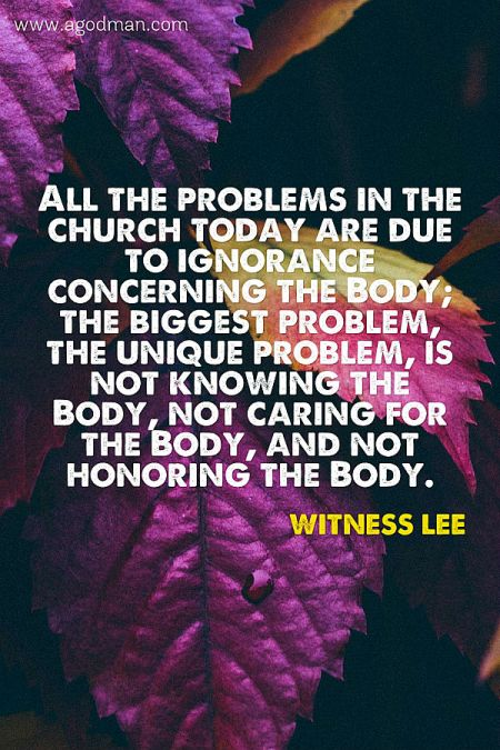 All the problems in the church today are due to ignorance concerning the Body; the biggest problem, the unique problem, is not knowing the Body, not caring for the Body, and not honoring the Body. Witness Lee