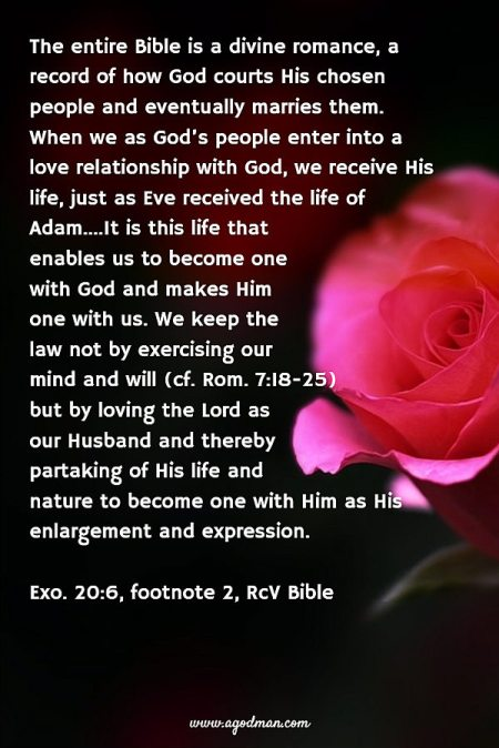 The entire Bible is a divine romance, a record of how God courts His chosen people and eventually marries them. When we as God's people enter into a love relationship with God, we receive His life, just as Eve received the life of Adam....It is this life that enables us to become one with God and makes Him one with us. We keep the law not by exercising our mind and will (cf. Rom. 7:18-25) but by loving the Lord as our Husband and thereby partaking of His life and nature to become one with Him as His enlargement and expression. (Exo. 20:6, footnote 2)