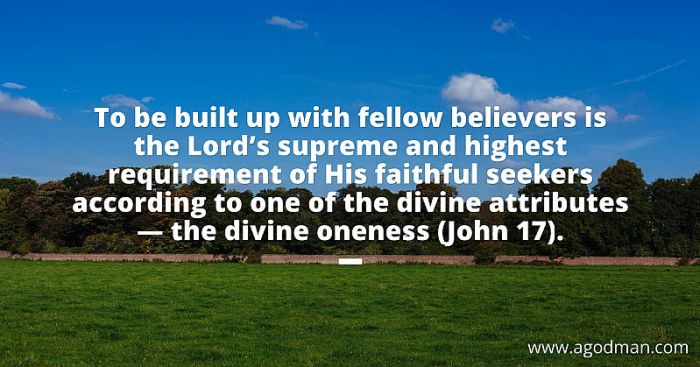 To be built up with fellow believers is the Lord's supreme and highest requirement of His faithful seekers according to one of the divine attributes — the divine oneness (John 17).