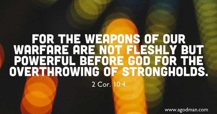 2 Cor. 10:4 For the weapons of our warfare are not fleshly but powerful before God for the overthrowing of strongholds.