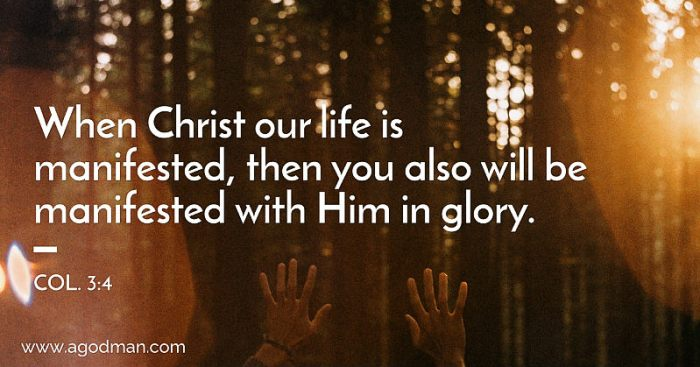 Col. 3:4 When Christ our life is manifested, then you also will be manifested with Him in glory.