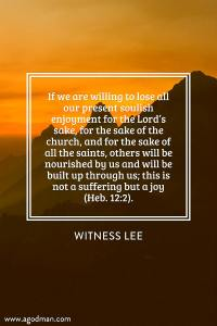 Losing the Soul-Life, our Present Soulish Enjoyment, for the Church to be Built up