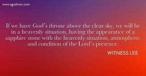 The Authority in the Church is the Throne above the Clear Sky, God's Ruling Presence