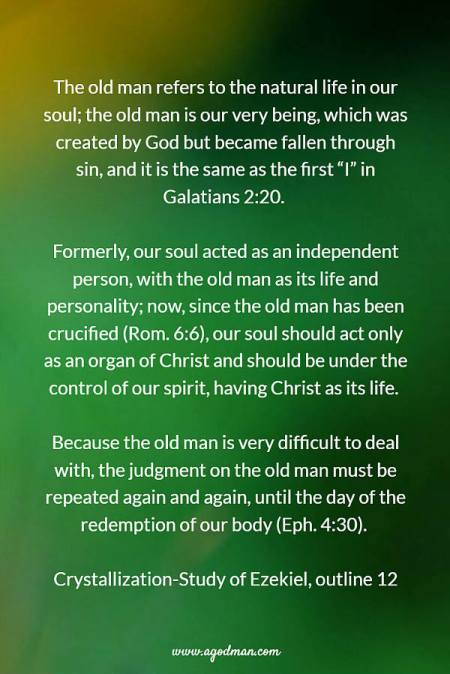 """The old man refers to the natural life in our soul; the old man is our very being, which was created by God but became fallen through sin, and it is the same as the first """"I"""" in Galatians 2:20. Formerly, our soul acted as an independent person, with the old man as its life and personality; now, since the old man has been crucified (Rom. 6:6), our soul should act only as an organ of Christ and should be under the control of our spirit, having Christ as its life. Because the old man is very difficult to deal with, the judgment on the old man must be repeated again and again, until the day of the redemption of our body (Eph. 4:30). Crystallization-Study of Ezekiel, outline 12"""