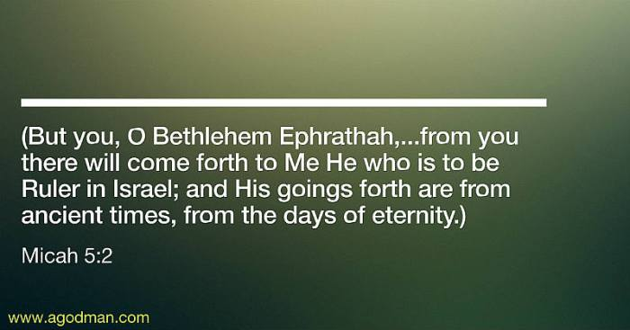 Micah 5:2 (But you, O Bethlehem Ephrathah,...from you there will come forth to Me He who is to be Ruler in Israel; and His goings forth are from ancient times, from the days of eternity.)