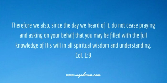 Col. 1:9 Therefore we also, since the day we heard of it, do not cease praying and asking on your behalf that you may be filled with the full knowledge of His will in all spiritual wisdom and understanding.
