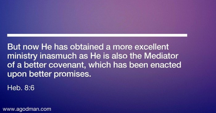 Heb. 8:6 But now He has obtained a more excellent ministry inasmuch as He is also the Mediator of a better covenant, which has been enacted upon better promises.