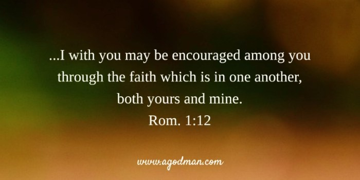 Rom. 1:12 ...I with you may be encouraged among you through the faith which is in one another, both yours and mine.