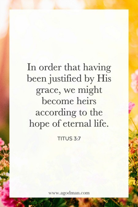 Titus 3:7 In order that having been justified by His grace, we might become heirs according to the hope of eternal life.