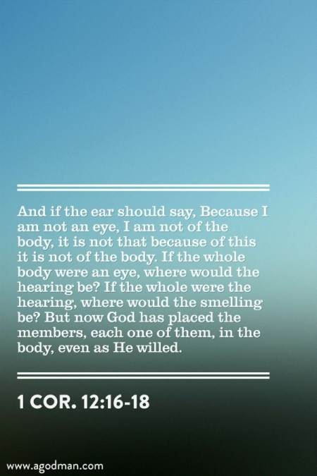 1 Cor. 12:16-18 And if the ear should say, Because I am not an eye, I am not of the body, it is not that because of this it is not of the body. If the whole body were an eye, where would the hearing be? If the whole were the hearing, where would the smelling be? But now God has placed the members, each one of them, in the body, even as He willed.