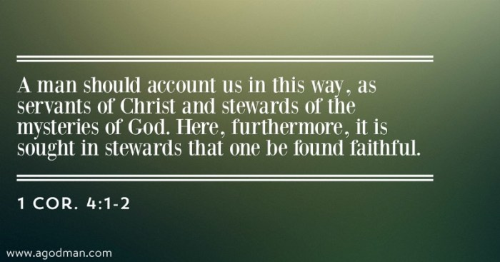 1 Cor. 4:1-2 A man should account us in this way, as servants of Christ and stewards of the mysteries of God. Here, furthermore, it is sought in stewards that one be found faithful.