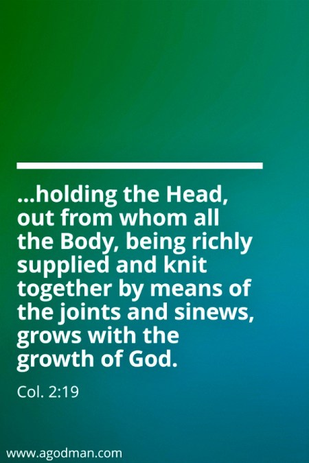 Col. 2:19 ...holding the Head, out from whom all the Body, being richly supplied and knit together by means of the joints and sinews, grows with the growth of God.