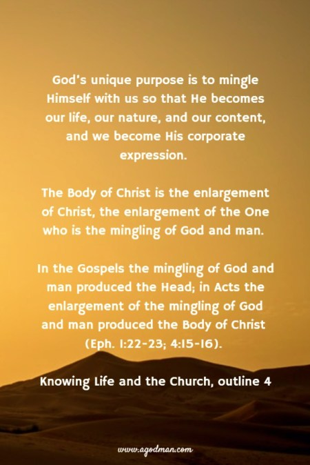 God's unique purpose is to mingle Himself with us so that He becomes our life, our nature, and our content, and we become His corporate expression. The Body of Christ is the enlargement of Christ, the enlargement of the One who is the mingling of God and man. In the Gospels the mingling of God and man produced the Head; in Acts the enlargement of the mingling of God and man produced the Body of Christ (Eph. 1:22-23; 4:15-16). Knowing Life and the Church, outline 4