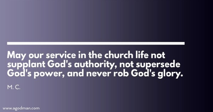 May our service in the church life not supplant God's authority, not supersede God's power, and never rob God's glory. M. C.