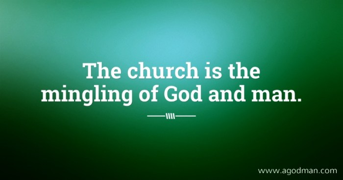 The church is the mingling of God and man.