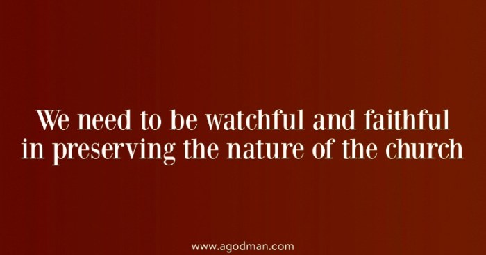 We need to be watchful and faithful in preserving the nature of the church
