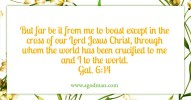 Gal. 6:14 But far be it from me to boast except in the cross of our Lord Jesus Christ, through whom the world has been crucified to me and I to the world.