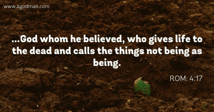 Rom. 4:17 ...God whom he believed, who gives life to the dead and calls the things not being as being.